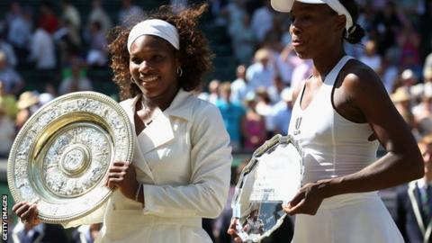 Serena and Venus Williams in the 2009 Wimbledon final