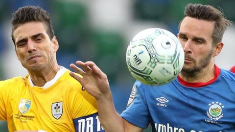 Linfield beat San Marino champions La Fiorita 1-0 in the first leg