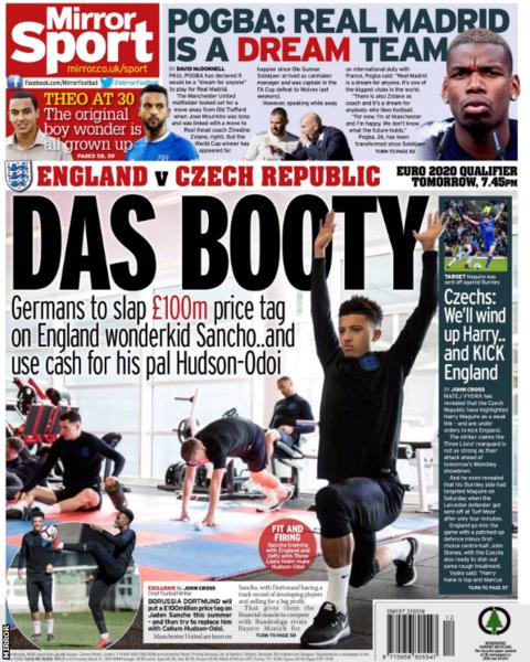 The Mirror also lead on the Sancho price tag