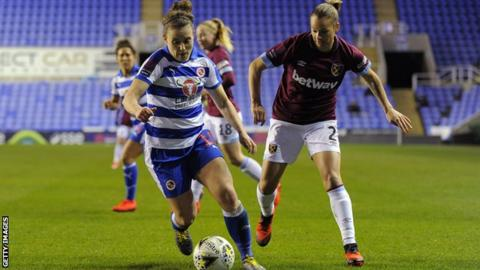 Reading Women v West Ham United women in WSL at Madejski Stadium