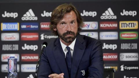 Andrea Pirlo speaks at a news conference after being appointed Juventus Under-23 manager