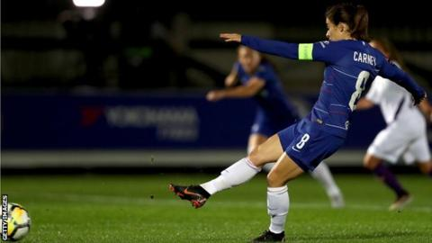 Karen Carney scores the winning goal from the penalty spot in Chelsea's 1-0 victory over Fiorentina