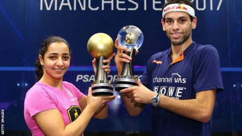 Egypt's world squash champions Raneem El Welily and Mohamed El Shorbagy
