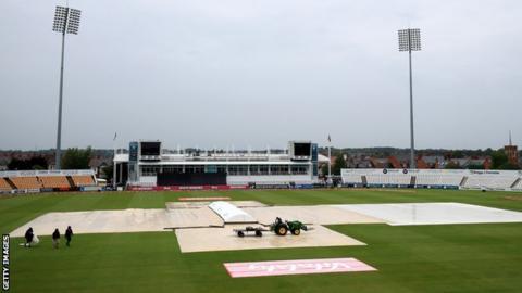 Rain at the County Ground, Northampton