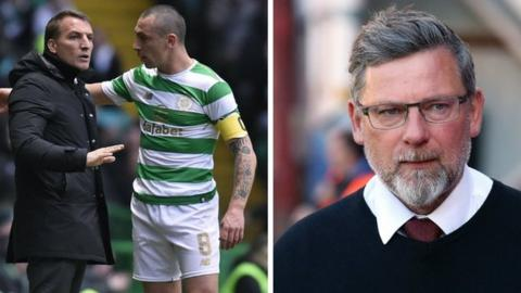 From left: Celtic manager Brendan Rodgers, captain Scott Brown and Hearts boss Craig Levein