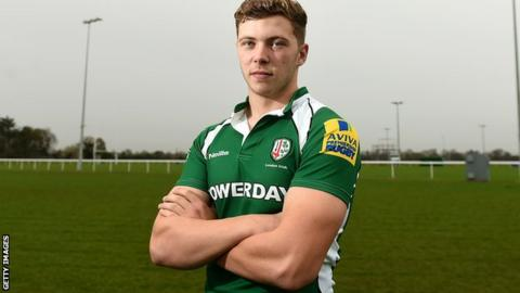 London Irish fly-half Theo Brophy Clews
