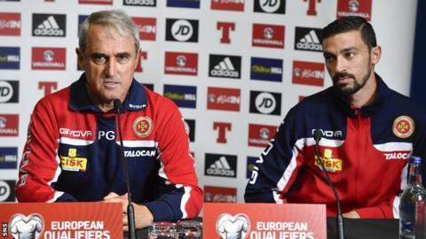 Malta head coach Pietro Ghedin and midfielder Ryan Fenech