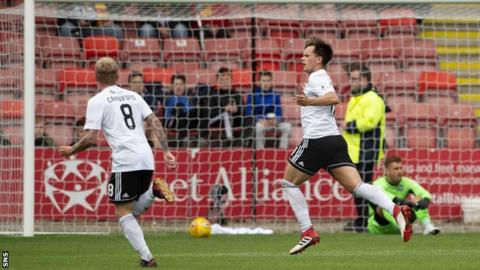 Lawrence Shankland celebrates after scoring for Ayr United against Partick Thistle