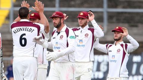 Northants celebrate taking a Glamorgan wicket
