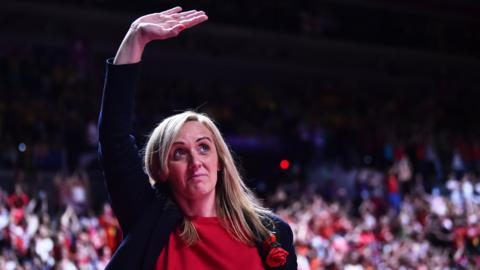 Tracey Neville waves to the crowd