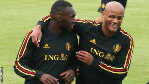 Vincent Kompany (right) with Christian Benteke in training