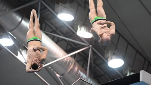 Timo Barthel and Florian Fandler of Germany compete in the Men's 10m Synchro Platform final during day one of the FINA Diving World Series Fuji at Shizuoka Prefectural Fuji Swimming Pools on March 15, 2018 in Fuji, Shizuoka, Japan. (Photo by Atsushi Tomura/Getty Images)