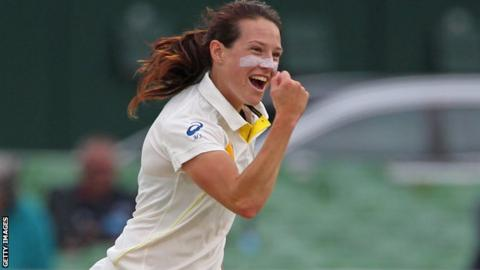 Megan Schutt celebrates a wicket