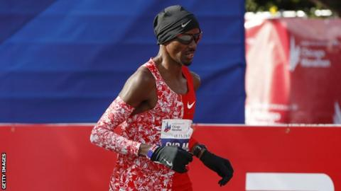 Four-time Olympic champion Mo Farah running in the Chicago Marathon