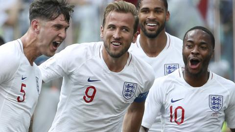 John Stones, Harry Kane, Reuben Loftus-Cheek and Raheem Sterling celebrate England's fourth goal against Panama