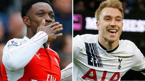 Arsenal striker Danny Welbeck and Tottenham Hotspur midfielder Christian Eriksen
