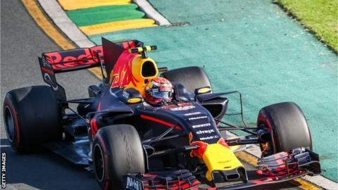 Daniel Ricciardo racing in the Australian GP