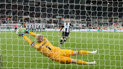 Kasper Schmeichel saves Jonjo Shelvey's penalty