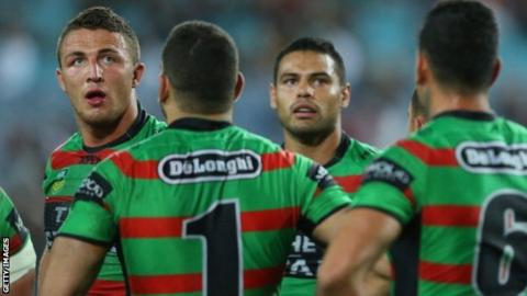 Ben Te'o was in the same team as Sam Burgess (left) when the South Sydney Rabbitohs won the NRL Grand Final down under in 2014