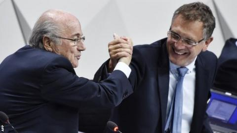 Jerome Valcke, right, was considering standing to be the new president last month