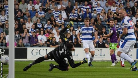Matty Taylor scores Bristol City's first goal against QPR