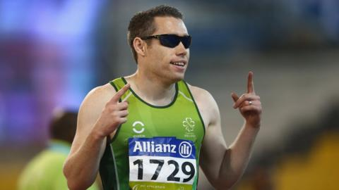 Jason Smyth won the Men's 100m T13 final at the IPC Athletics World Championships in Qatar in October
