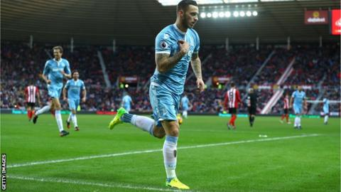 Marko Arnautovic celebrates scoring for Stoke City against Sunderland