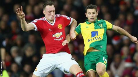 Phil Jones in action against Norwich