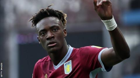 Tammy Abraham playing for Aston Villa
