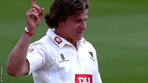 Matthew Hobden celebrates after taking a wicket against Hampshire in June