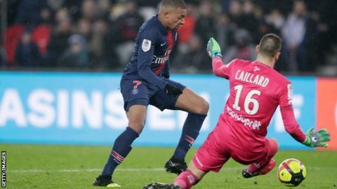 Kylian Mbappe scoring for Paris St-Germain against Guingamp