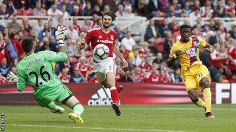 Wilfried Zaha puts Palace ahead