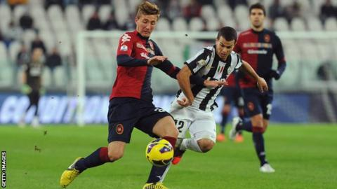 Dario Del Fabro, left, has yet to make an appearance for Juventus but faced them while on loan at Cagliari