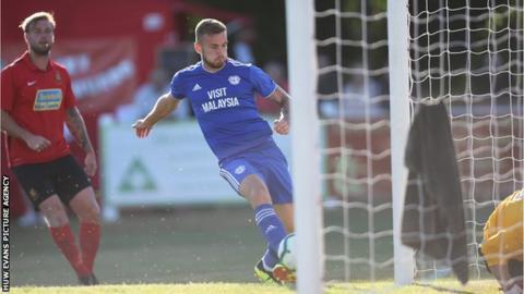 Joe Ralls of Cardiff City scores Cardiff's second goal
