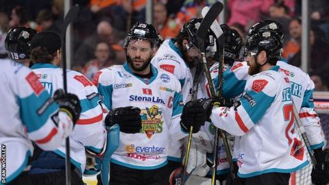 Belfast players celebrate after Sunday's win in Sheffield