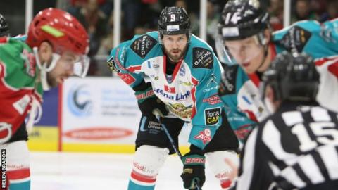 Belfast Giants pair Jim Vandermeer and Michael Forney prepare for action against the Cardiff Devils