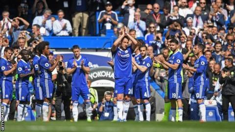 John Terry leaves the field to a guard of honour