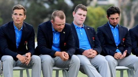 Dejected looking GB players at the closing ceremony of the Walker Cup