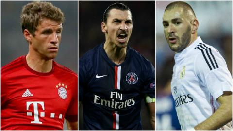 Thomas Muller, Zlatan Ibrahimovic and Karim Benzema