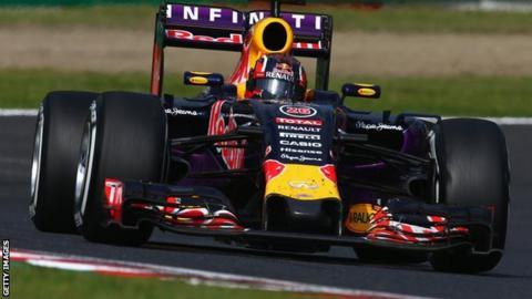 Daniil Kvyat driving his Red Bull during the 2015 Japanese Grand Prix