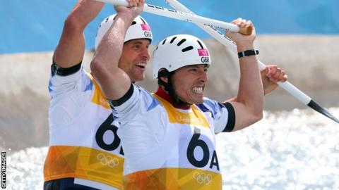 David Florence and Richard Hounslow celebrate winning silver at London 2012