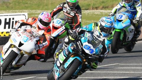 Alastair Seeley out in front and on his way to victory in the Supersport race on Thursday night