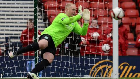 Hibernian goalkeeper Conrad Logan