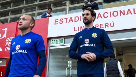Scotland's Dylan McGeouch and captain Charlie Mulgrew train at the Estadio Nacional