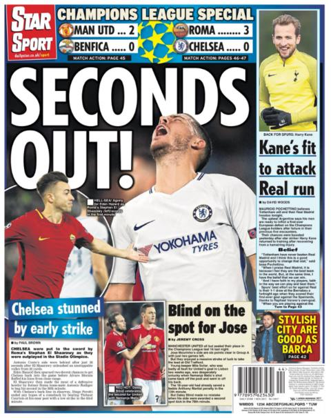 Daily Star's back page on Wednesday