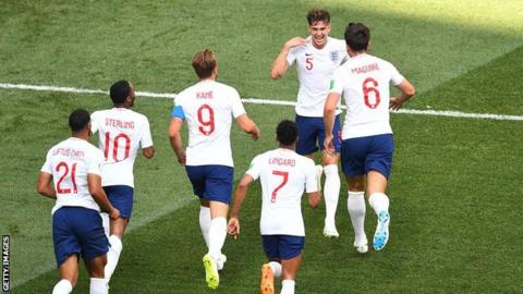 England celebrating at the World Cup in Russia