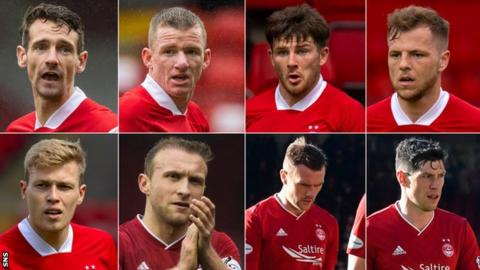 sports Craig Bryson, Jonny Hayes, Matthew Kennedy, Bruce Anderson, Scott McKenna, Michael Devlin, Dylan McGeouch and Sam Cosgrove (clockwise from top left) all had to quarantine
