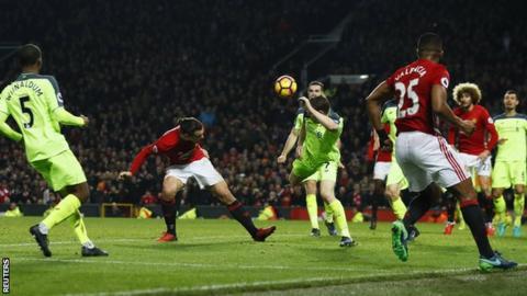 Zlatan Ibrahimovic scores Manchester United's equaliser against Liverpool