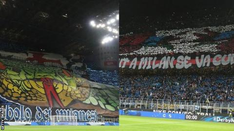 Fans of Inter Milan and AC Milan at the San Siro
