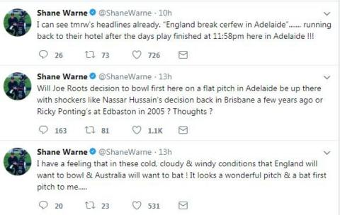 Former Australia spinner Shane Warne, meanwhile, spoke about Root's decision at the toss - and had a little joke about England getting back to the hotel in time to avoid breaching their self-imposed curfew. Play finished under two hours before the stroke of midnight on day one